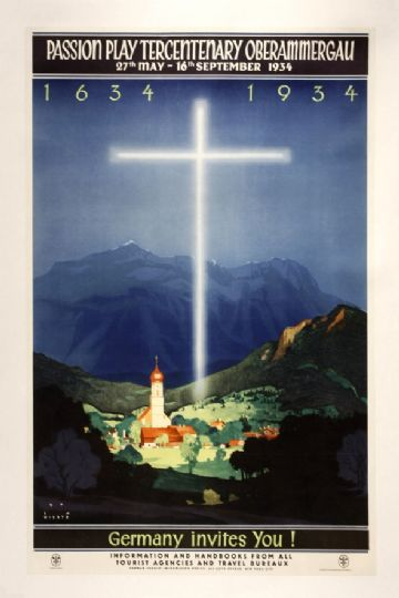 Vintage Travel Poster 1934 Passion Play Tercentenary Oberammergau 1634-1934